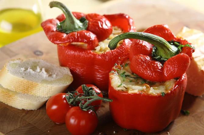 перец фаршированный чечевицей вегетарианский