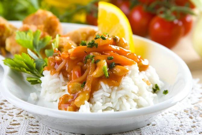 рис с кисло сладким соусом, рис с кисло сладким соусом рецепт