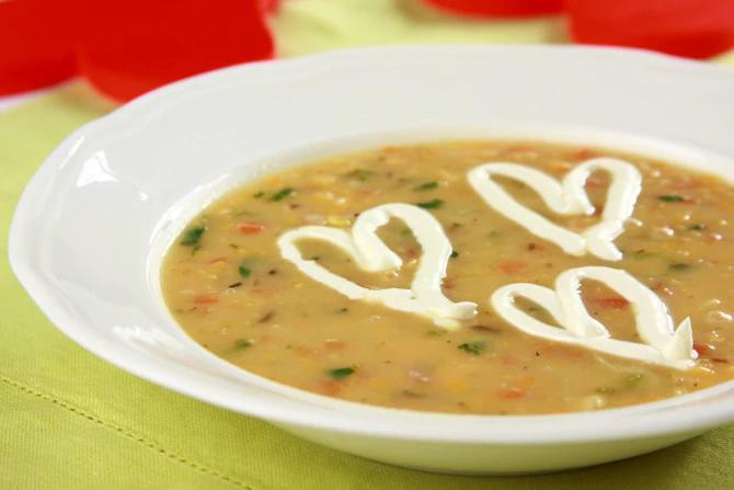 Суп из красной чечевицы с лососем