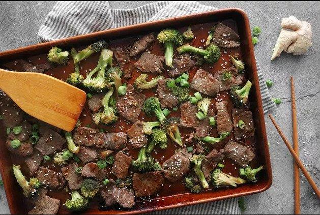 Рецепт говядины и брокколи на сковороде