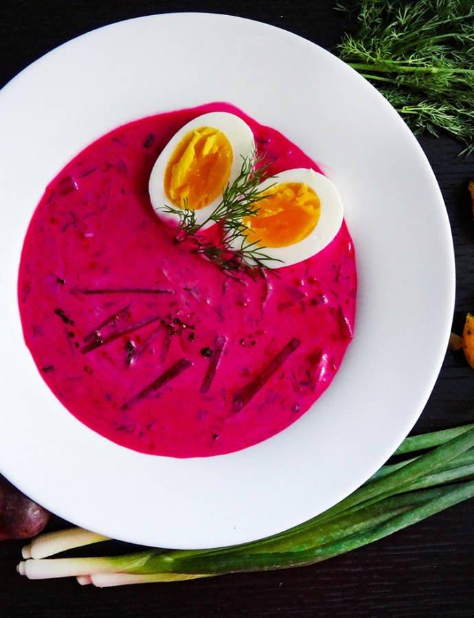 Литовский холодный суп со свёклой