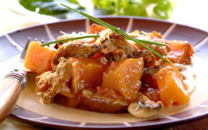 Запеченный сладкий картофель с грибами