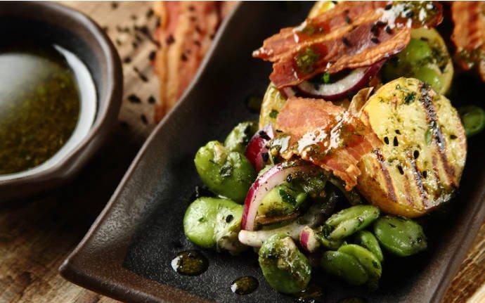 Салат с бобами и картофелем